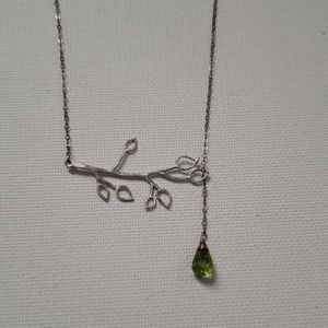 LIKE NEW Branch Silver Necklace with Drop Detail